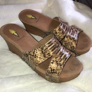 Snakeskin patterned sandals